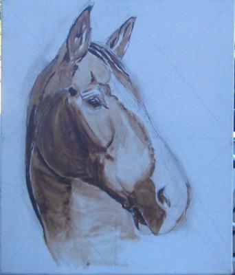 lit de peinture portrait cheval