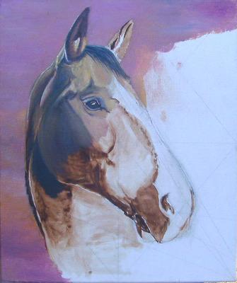 peinture cheval en cours