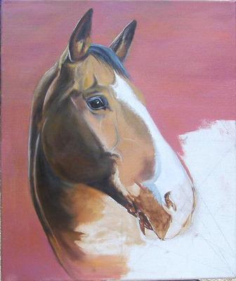 peinture portrait cheval en cours