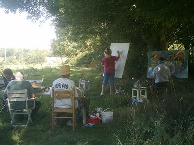 Peintres dans l'herbe